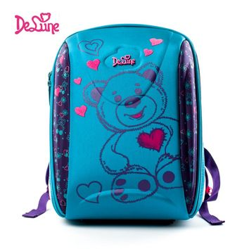 Delune 2017 3D Embroidered Girls Boys Primary School backpack 3-5 Class School Bag Children Orthopedic Cartoon Bear School bags