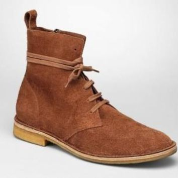 Men Brown Lace Up Suede Chukka Leather Boots