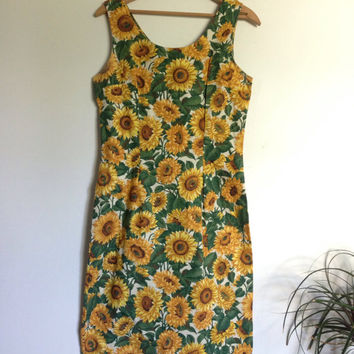 Vintage 90s Sunflower Fitted Dress Grunge Boho Size 6