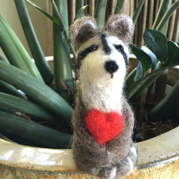 Racoon valentines day love valentine raccoon needle felted racoon cute raccoon gift I love you for her boy valentines heart woodland felting