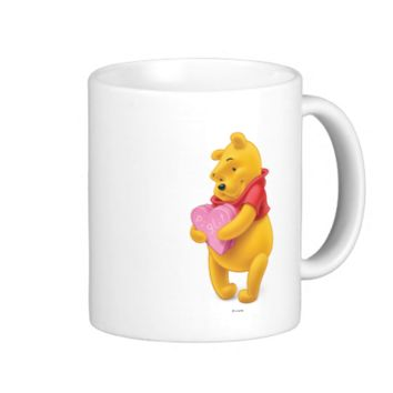 Winnie the Pooh holding valentine box for Piglet Classic White Coffee Mug