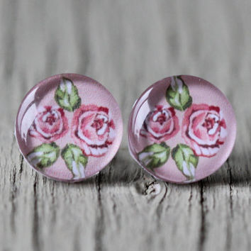 Fake Plugs : Pink Floral Wallpaper Stud Earrings, Fake Plugs, Cabochon, Flat Back, Vintage, Victoria, Pink, ArtisanTree