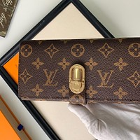 Louis Vuitton LV new classic printed stitching gold buckle men and women long wallet