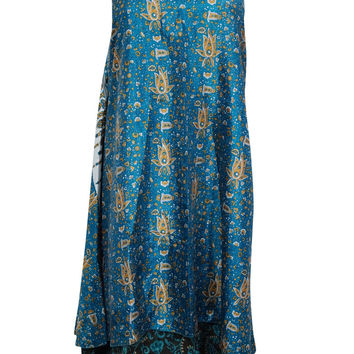 Boho Magic Wrap Skirt Blue Vintage Silk Sari Reversible Long Skirt