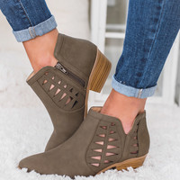 Take A Chance Cutout Detail Booties (Olive)