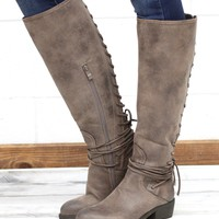 Very Volatile: Marcelina Lace Up Back Boots {Taupe}