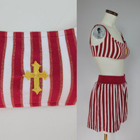 80s/90s - Nautical - Gold Cross - Red Gold & White Stripe - Two Piece Bikini - Shorts - Swimsuit - M