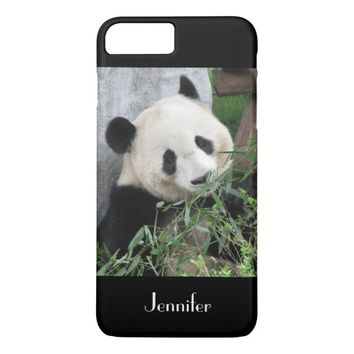Cute Giant Panda, Black Background, Custom Name iPhone 8 Plus/7 Plus Case