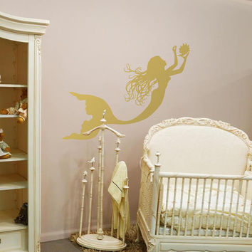 Gold Mermaid Wall Decal Girl Nursery Decor by FWD- Mermaid Wall Sticker Nymph Girl Decal, Nautical Wall Decal Girls Room Mermaid Decor C142