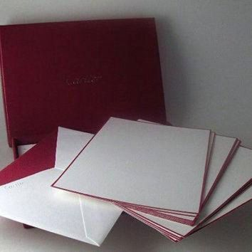 VLX9RV Vintage Cartier Stationery Wedding Supply Set of 10 Note Cards and 10 Envelopes with O
