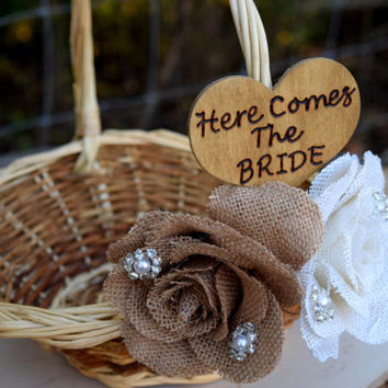 Burlap Flower Girl Basket - Rustic Flower Girl Basket - Rustic Wedding - Shabby Chic Wedding - Rustic Flower Girl