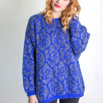 Vintage 1980's Royal Blue Nordic Oversize Sweater / Grunge / Jumper / Tunic / Christmas Sweater / Winter / Benetton Italy / Wool