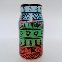 Warli Art Handpainted Flower Vase Multicolor Decoartive Jar Boho Tribal Indian Coffee Table Piece Diwali Christmas Gift Under 15