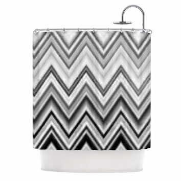 "Nika Martinez ""Seventies Chevron In BW"" Black Pattern Shower Curtain"