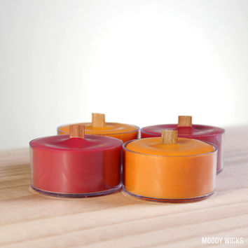 Mango Scented Soy Palm Tea Light Candles with Wood Wick - Set of 4 - Orange and Red