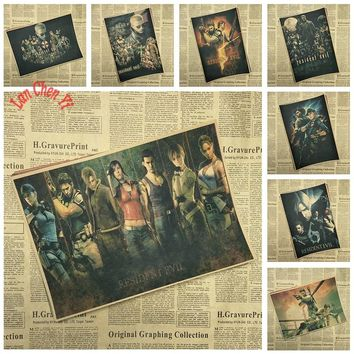 Resident Evil Classic Game Kraft Paper Poster Bar Cafe Room Office Decorative Paintings Home Decor Free Shipping