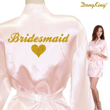 DongKing Bridesmaid Robes Bridesmaid Heart Golden Glitter Print Faux Silk Kimono Robes Wedding Gift Bride Team Bachelorette Love