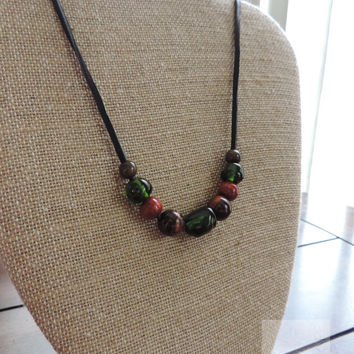 Glass bead necklace from real wine bottles Unique necklace One of a kind (N050)