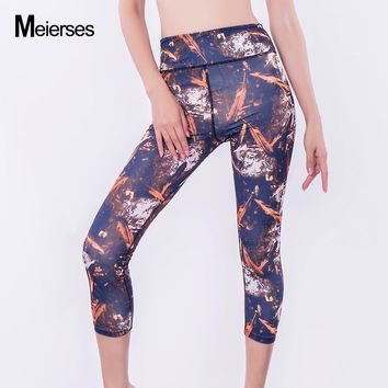 MEIERSES 3/4 Yoga Leggings Printed Sexy Mid-Calf Skinny Fitness Leggings Running Tighst Women Compression Sports Joggers