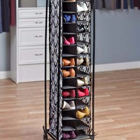 Rolling Shoe Storage Black Damask Cubbie Organizer Pair Rack Slim Space Saving