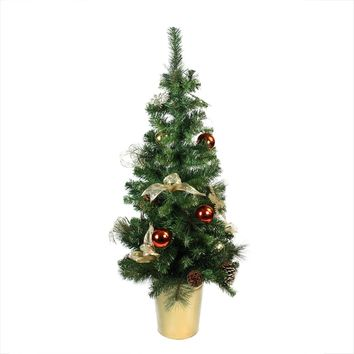 "48"" Pre-Decorated Red  Gold and Copper Potted Artificial Christmas Tree - Unlit"