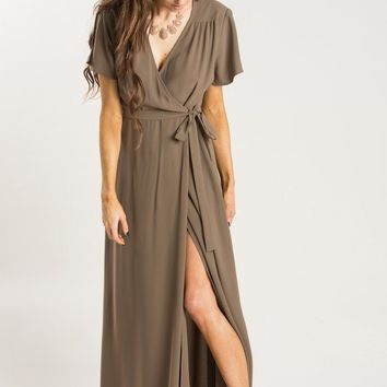 Dakota Mocha Flutter Sleeve Maxi Dress