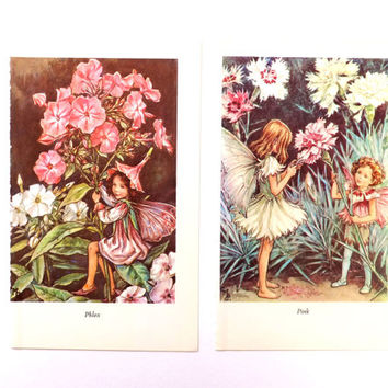 Two Vintage Fairies Pictures, Phlox and Pink  Fairies, Pink flowers, home decor, Cicely Mary Barker fairies