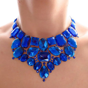Blue Bib Necklace, Rhinestone Statement, Sparkly, Jeweled Bib, Bridesmaid Necklace, Jewelry, Bright, Royal Blue Necklace