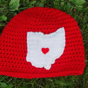 Heart of Ohio Hat, Ohio State Crocheted Hat with Outline of Ohio and Heart showing your City (Newborn - 4T) Great for Photo Prop