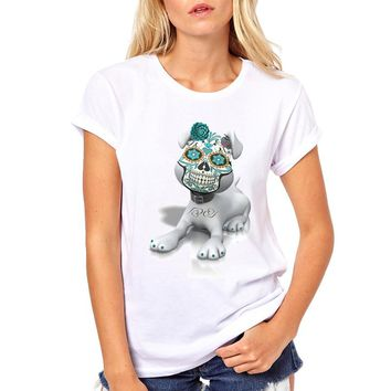 Women short sleeve T-Shirt brand clothing Casual tops Skull Mask Dog