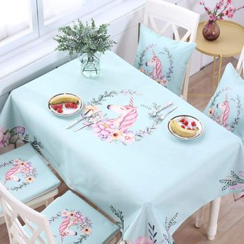 Unicorn & Floral Pattern Tablecloth