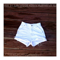 Powder Fresh: Vintage High Waist Denim Shorts