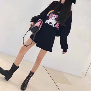 """Moschino"" Women Casual Fashion Cute Cartoon Rainbow Pony Print Long Sleeve Hooded Sweater Irregular Short Skirt Set Two-Piece"