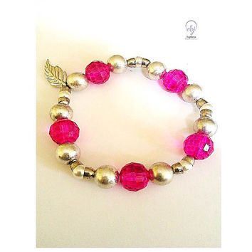 Pink Crystal and Silver Lustre Bead Stretch Bracelet Connected to  Small Metal Cups and White Bead - Upcycle Jewellery