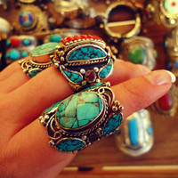 Tibetan Turquoise Ring- Nepalese Turquoise and Coral jewelry- Coral and turquoise- Tibetan Jewelry- statement Jewelry- Bohemian Jewelry-