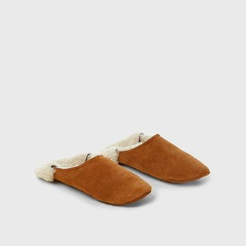 Suede Moroccan Slipper - Saddle/Ivory