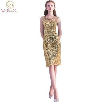 Walk Beside You Gold Cocktail Dresses Bandage Sheath Sequined Knee Length Party Formal Gowns Woman Coctel