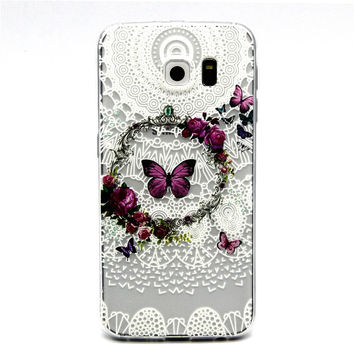 Ultra Thin Transparent Silicone Case for Samsung Galaxy S6 (Butterflies)