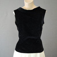 50s Black Velvet Top, fits 36 bust, Bow on the Back, Folded Neckline, Vintage 1950s Fitted Evening Top