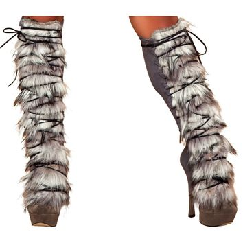 Roma RM-LW4428 Fur/Suede Leg Warmer with Lace-up