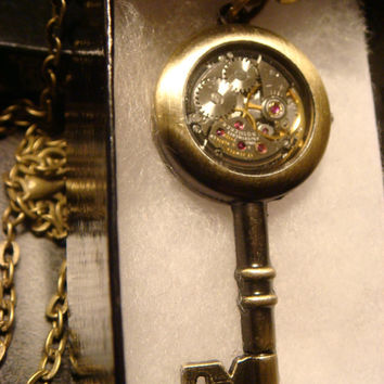Steampunk Clockwork Movement Skelrton Key Pendant Necklace REVERSIBLE..Made with Pocket Watch Parts (1392)