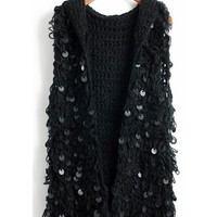 Black Women Autumn Winter Euro Style Sequins Hollow-out Hood Black Vest Knitting Cardigans One Size @WH0376b $20.33 only in eFexcity.com.