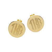 Engraved Round Post Earring