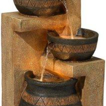 "Stoneware Bowl and Jar Indoor-Outdoor 46"" High Fountain"