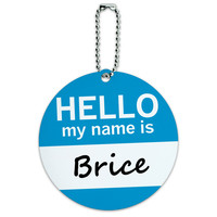 Brice Hello My Name Is Round ID Card Luggage Tag