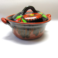 Vintage Mexican Lidded Conditment Sugar Bowl Mexico Pottery