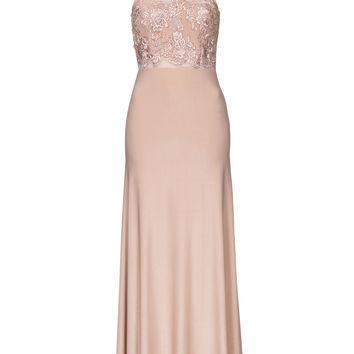 Apricot Lace-Crochet Panel Evening Gown
