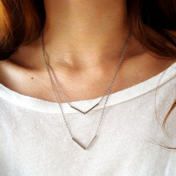 Double V Layered Chevron Necklace by wwillthebeast on Etsy