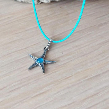 Silver stafish pendant, small starfish pendant with aqua marine stone, boho starfish necklace, teens and girls necklace on blue cord
