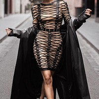 Try To Resist Beige Black Long Sleeve Round Neck Crisscross Lace Up Bodycon Bandage Mini Dress